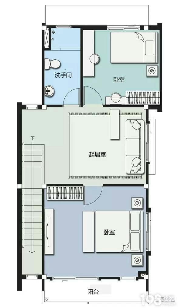 农家两层住房8米x9米设计平面图