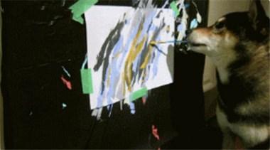 一只柴犬画的画,你猜能卖到多少钱?